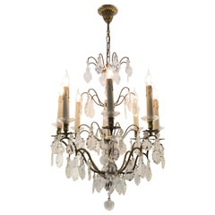 19th Century French Eight–Light Crystal and Bronze Chandelier