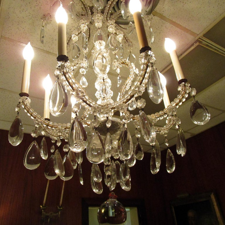 19th century French Eight-Light Crystal Chandelier 4