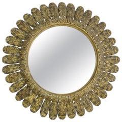 19th Century French Elegant Gilt Carved Wood Circular Feather Mirror