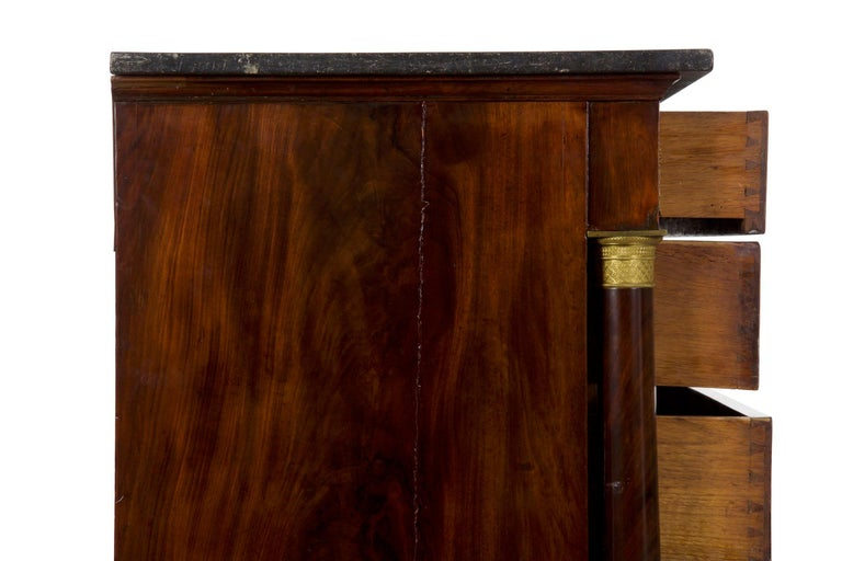 19th Century French Empire Antique Mahogany Commode Chest of Drawers For Sale 15