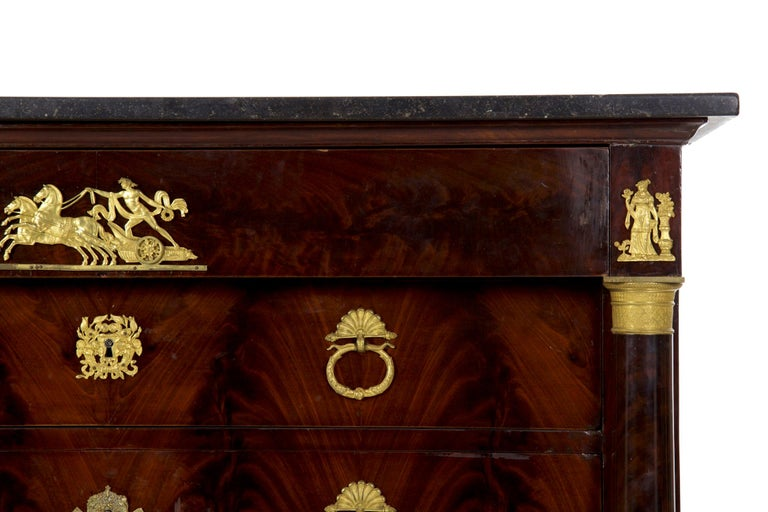 Ormolu 19th Century French Empire Antique Mahogany Commode Chest of Drawers For Sale