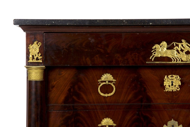 19th Century French Empire Antique Mahogany Commode Chest of Drawers For Sale 1