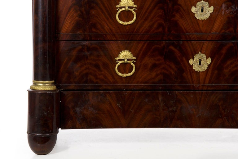 19th Century French Empire Antique Mahogany Commode Chest of Drawers For Sale 2