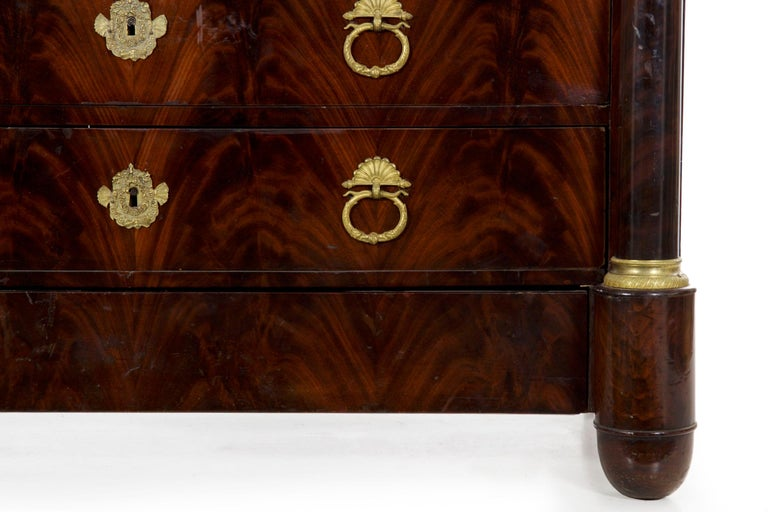 19th Century French Empire Antique Mahogany Commode Chest of Drawers For Sale 3