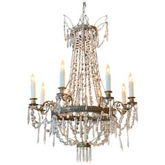 19th Century French Empire Beaded Crystal and Gilt Bronze Chandelier