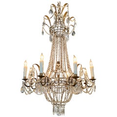 19th Century French Empire Beaded Crystal and Tole Chandelier