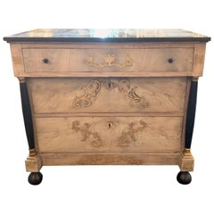 19th Century French Empire Bleached Mahogany Chest with Brass Inlay