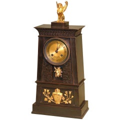 19th century French Empire Bronze and Ormolu Egyptian Style Clock