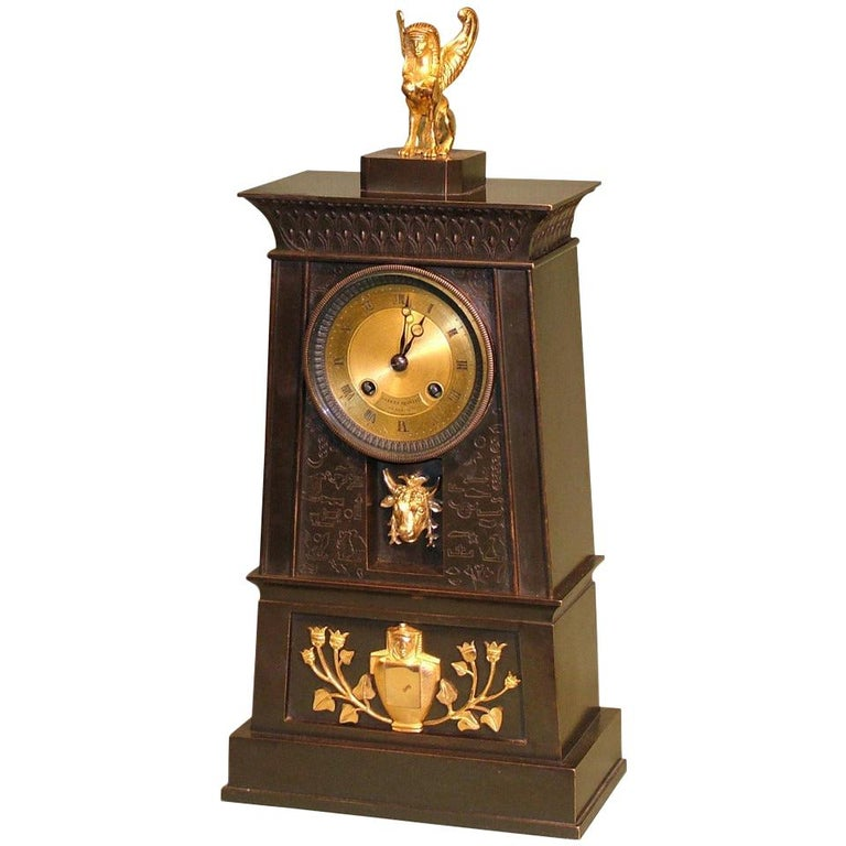19th century French Empire Bronze and Ormolu Egyptian Style Clock For Sale