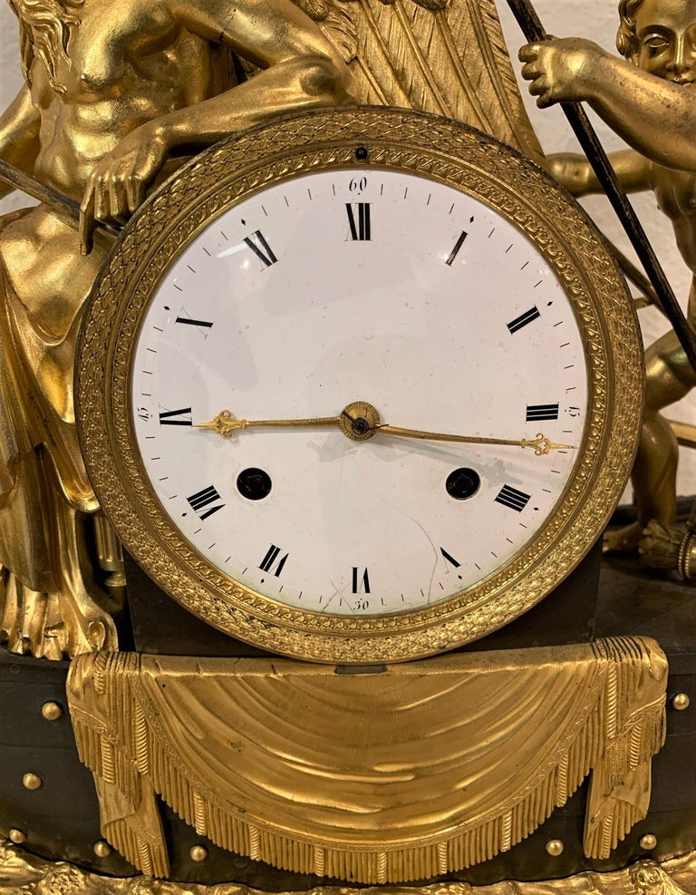 Gilt 19th Century French Empire Bronze Mantel Clock with Father Time For Sale