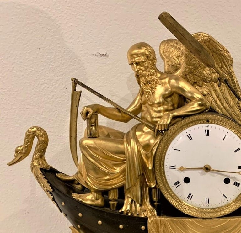 19th Century French Empire Bronze Mantel Clock with Father Time For Sale 1