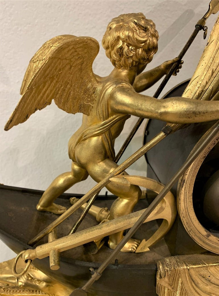 19th Century French Empire Bronze Mantel Clock with Father Time For Sale 5