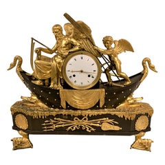 19th Century French Empire Bronze Mantel Clock with Father Time