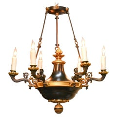 19th Century French Empire Bronze & Tole Chandelier