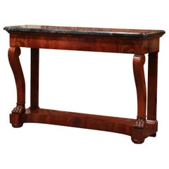 19th Century French Empire Carved Mahogany Console Table with Green Marble Top