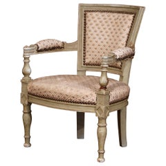 19th Century French Empire Carved Painted and Upholstered Child Armchair