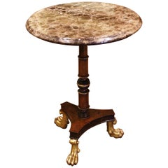 19th Century French Empire Carved Walnut and Brown Marble Side Pedestal Table