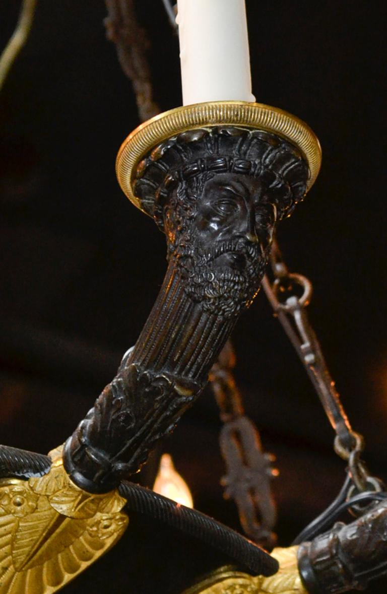 19th Century French Empire Chandelier In Good Condition For Sale In Dallas, TX