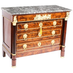 19th Century French Empire Chestnut Commode Chest Marble Top