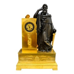 19th Century French Empire Clock of a Classically Draped Greek Philosopher