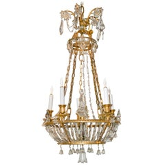 19th Century French Empire Crystal and Bronze Chandelier