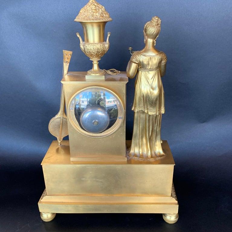 19th Century French Empire Dore Bronze Clock In Good Condition For Sale In Los Angeles, CA