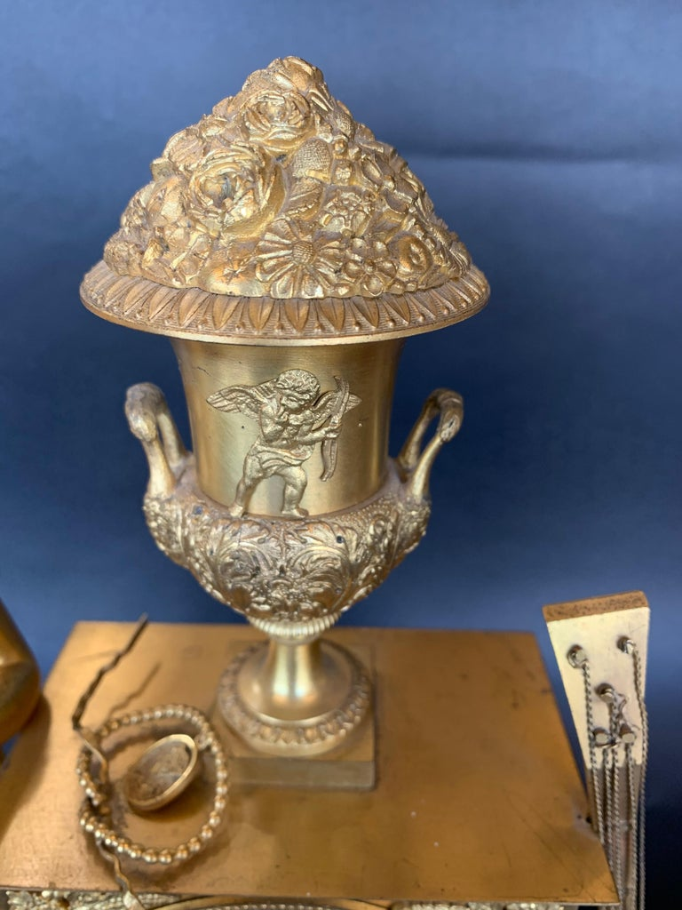 19th Century French Empire Dore Bronze Clock For Sale 1