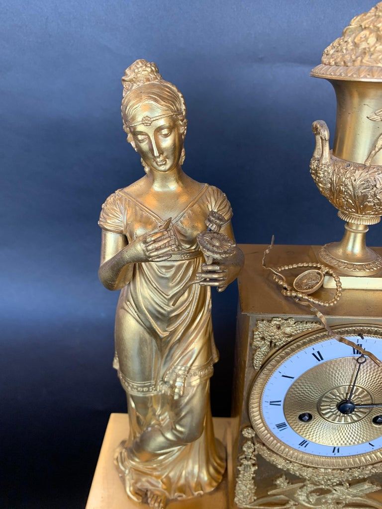 19th Century French Empire Dore Bronze Clock For Sale 2