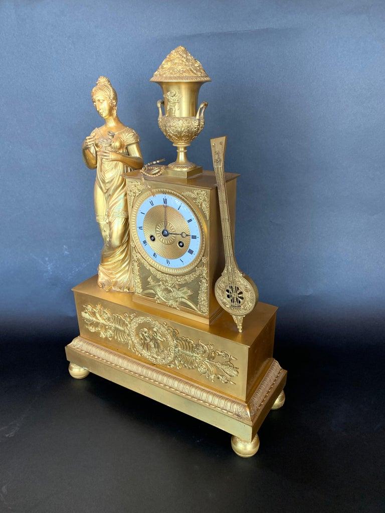 19th Century French Empire Dore Bronze Clock For Sale 3