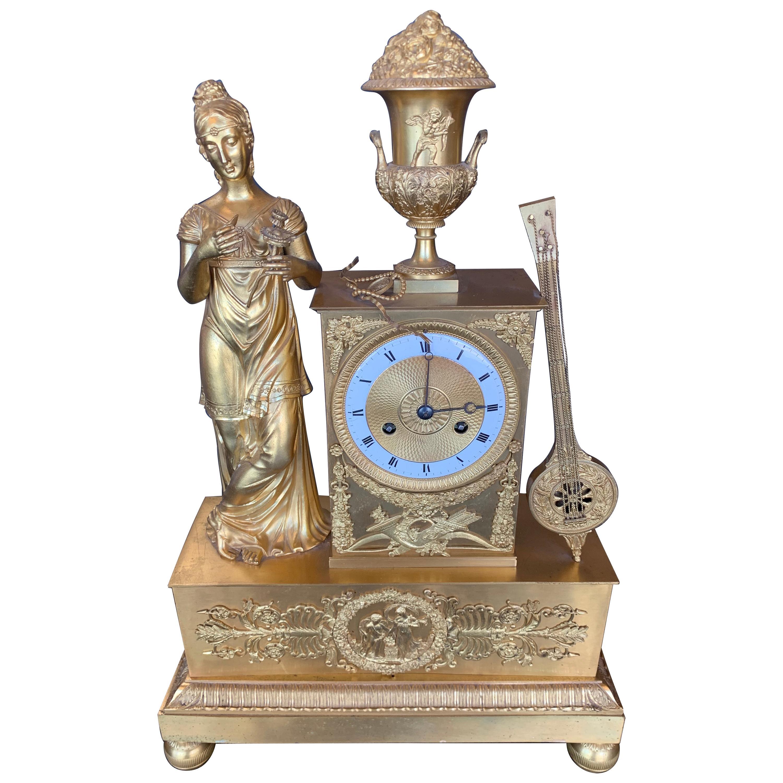 19th Century French Empire Dore Bronze Clock