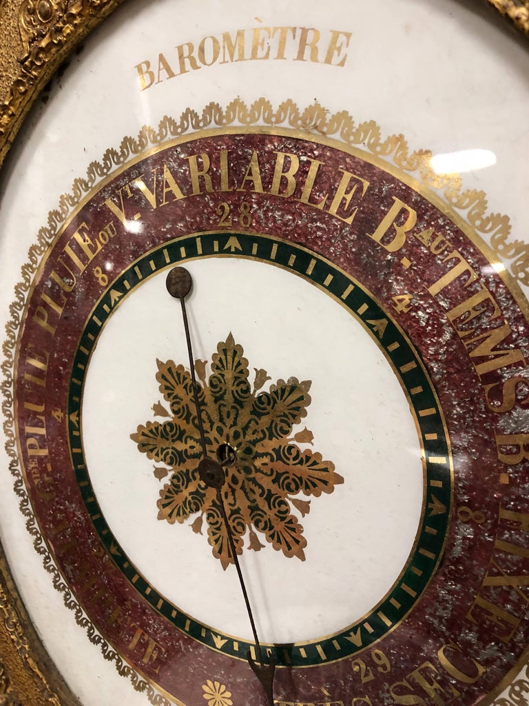 19th Century French Empire Gilt Barometer In Good Condition For Sale In Fairhope, AL