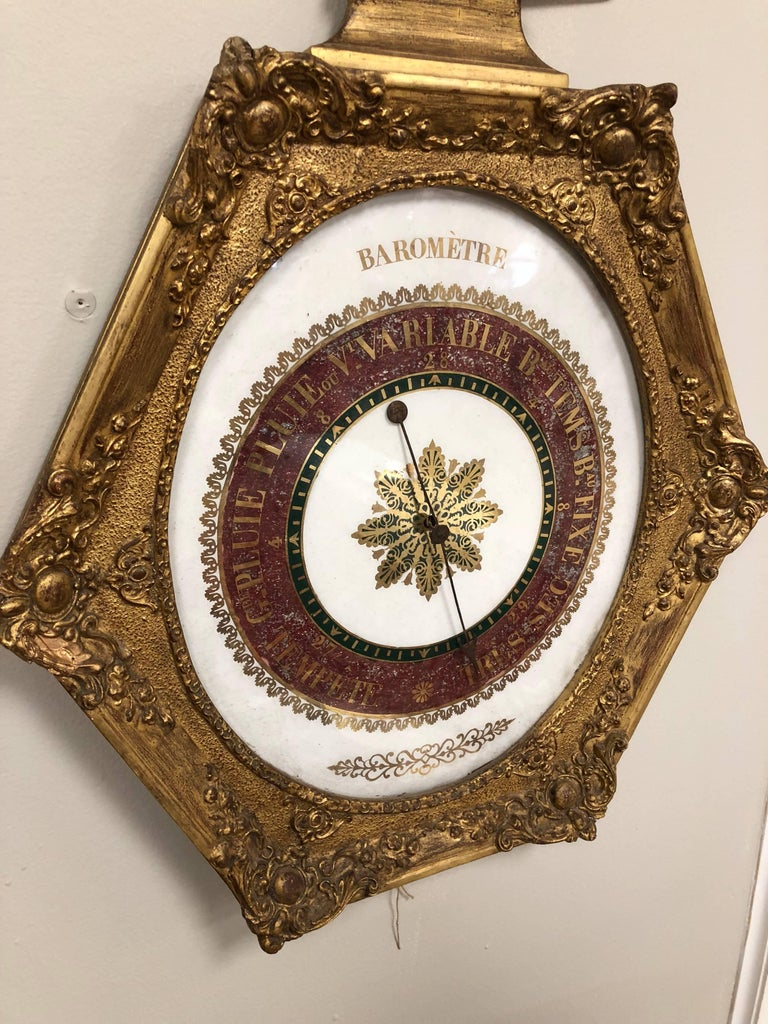19th Century French Empire Gilt Barometer For Sale 1