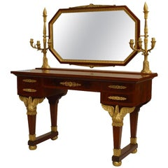 19th Century French Empire Gilt Bronze and Mahogany Dressing Table