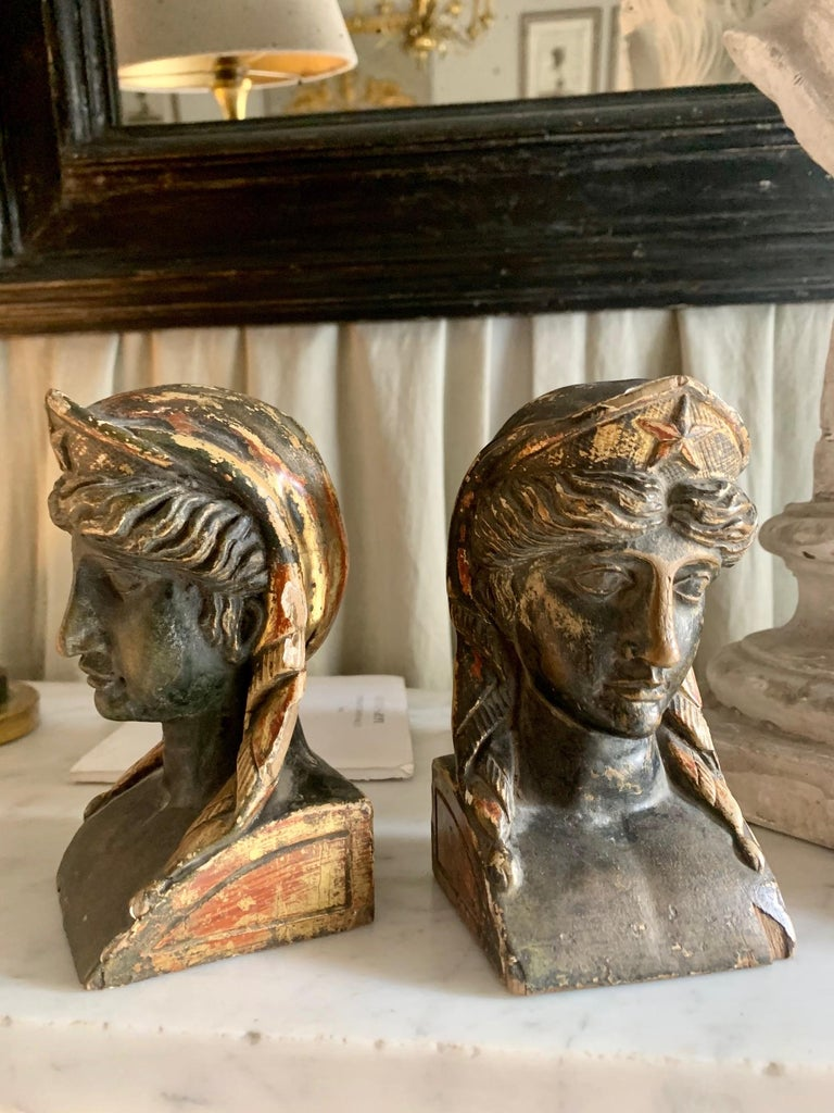 European 19th Century French Empire Gitwood Heads Sphinxes For Sale