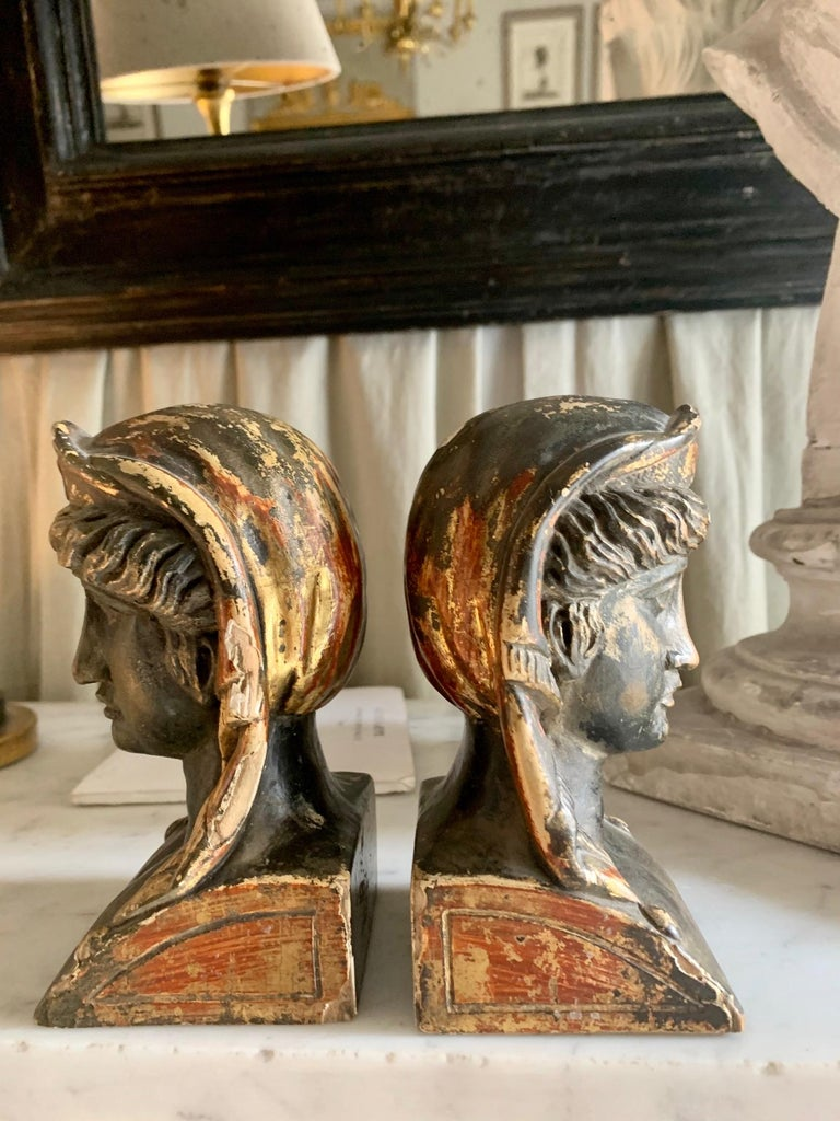Hand-Painted 19th Century French Empire Gitwood Heads Sphinxes For Sale