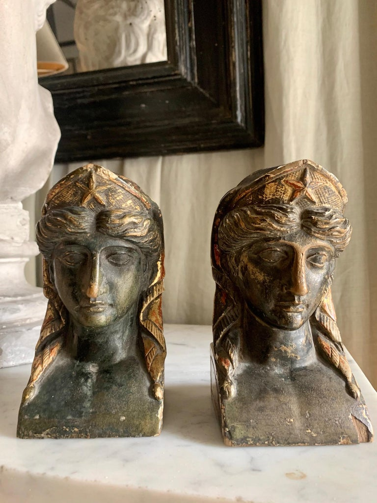 Giltwood 19th Century French Empire Gitwood Heads Sphinxes For Sale