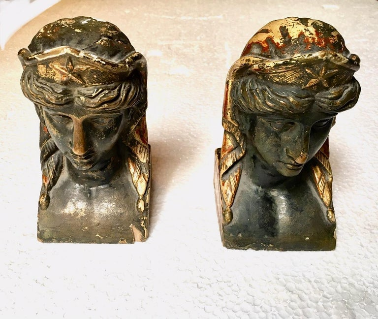 19th Century French Empire Gitwood Heads Sphinxes For Sale 1