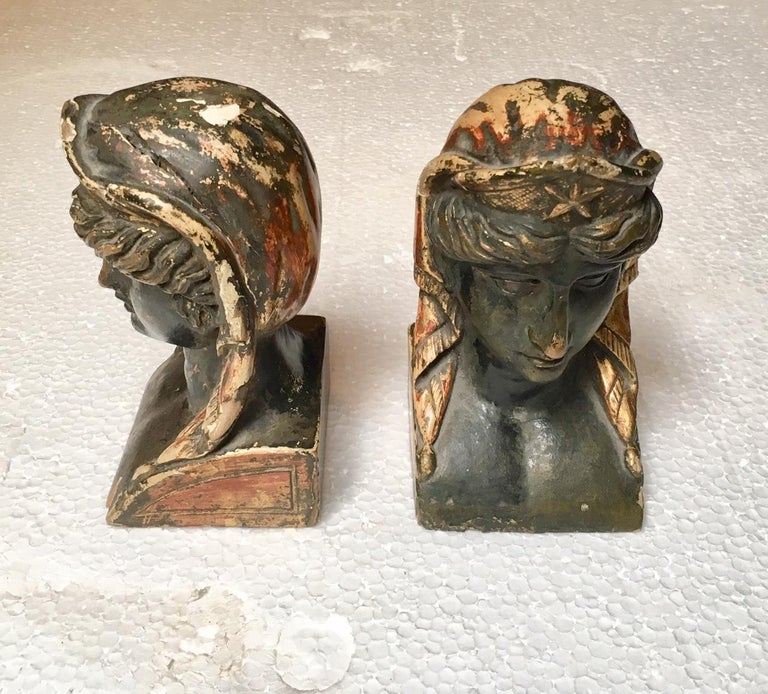 19th Century French Empire Gitwood Heads Sphinxes For Sale 3