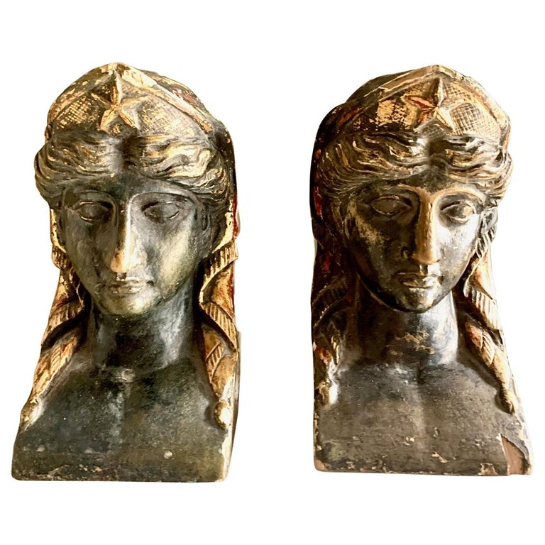 19th Century French Empire Gitwood Heads Sphinxes For Sale