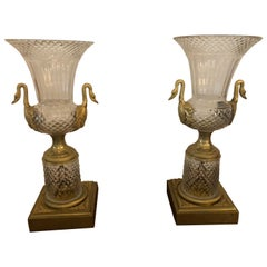 19th Century French Empire Glass and Gilt Bronze Vases