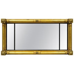 19th Century French Empire Gold Gilt Overmantle Antique Triptych Triple Mirror
