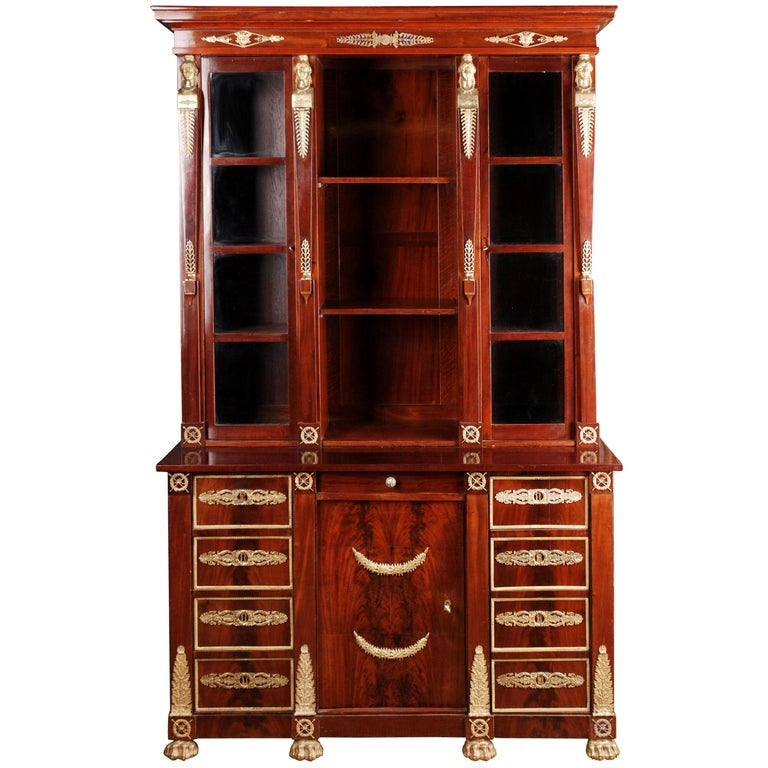 19th Century French Empire Library Cabinet, Cuba Mahogany For Sale