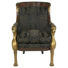 19th Century French Empire Mahogany and Parcel Gilt