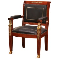 19th Century French Empire Mahogany, Bronze and Leather Desk Armchair