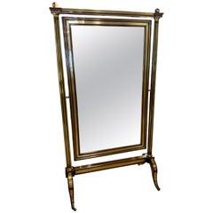 19th Century French Empire Mahogany Cherval Mirror