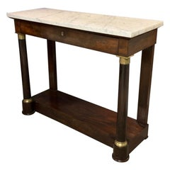 19th Century French Empire Mahogany Console Table with Marble Top and Brasses