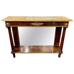 19th Century French Empire Mahogany Console with Sienna Marble Top