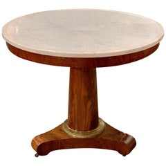 19th Century French Empire Mahogany Side Table with Marble Top
