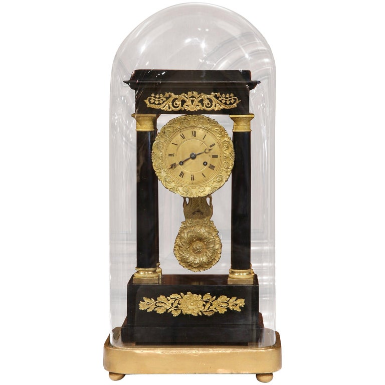 19th Century French Empire Mantel Clock in Original Glass Dome on Gilt Base For Sale