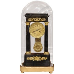 19th Century French Empire Mantel Clock in Original Glass Dome on Gilt Base